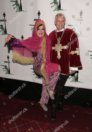 Stock Picture of Recording artist Kate Pierson, left, and Monica Coleman, right, attend New York Restoration Project's 18th Annual Hulaween gala on in New York