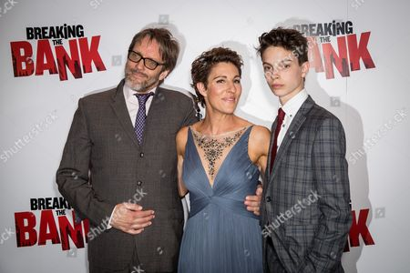 From left, Richard Leaf, Tamsin Greig and Jakob Zebedee pose for photographers upon arrival at the premiere of the film 'Breaking the Bank' in London