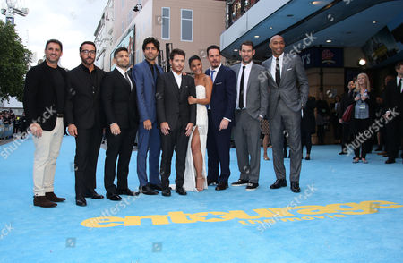 Stephen Levinson, Jeremy Piven, Jerry Ferrara, Adrian Grenier, Kevin Connolly, Emmanuelle Chriqui, Kevin Dillon, director Doug Ellin and Thierry Henry pose for photographers upon arrival at the European premiere of the film Entourage in London, Tuesday, 9 June, 2015