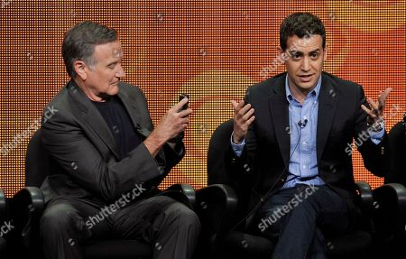 """Robin Williams, left, and executive producer/director Jason Winer participate in """"The Crazy Ones"""" panel at the CBS Summer TCA, at the Beverly Hilton hotel in Beverly Hills, Calif"""