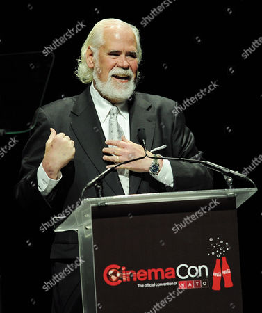 """Sony Pictures Vice Chairman Jeff Blake addresses the audience during the """"State of the Industy"""" presentation at CinemaCon 2014 on in Las Vegas"""