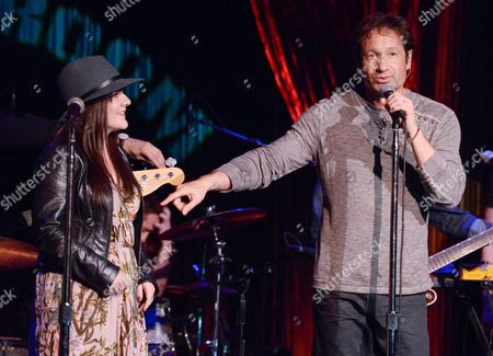 """David Duchovny is joined by """"Californication"""" co-star Madeleine Martin during his performance at The Cutting Room, in support of the release of his debut album """"Hell Or Highwater"""",, in New York"""