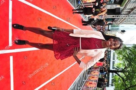 Jeanette Kwakye arrives at the Fast Girls World Premiere at Odeon West End on in London