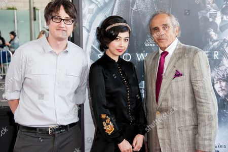 """From left, Ayako Fujitani, Dave Boyle, and Pepe Serna arrive at the Los Angeles Film Festival Opening Night Gala - """"Snowpiercer"""" on in Los Angeles"""