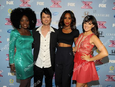 """From left, contestants Lillie McCloud, Jeff Gutt, judge Kelly Rowland and contestant Rachel Potter arrive at FOX's """"The X Factor"""" Season 3 Finalists Party,, at the SLS Hotel in Beverly Hills, Calif"""