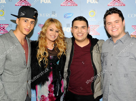 "From left, contestant Carlito Olivero, judge Paulina Rubio and contestants Carlos Guevara and Tim Olstad arrive at FOX's ""The X Factor"" Season 3 Finalists Party,, at the SLS Hotel in Beverly Hills, Calif"