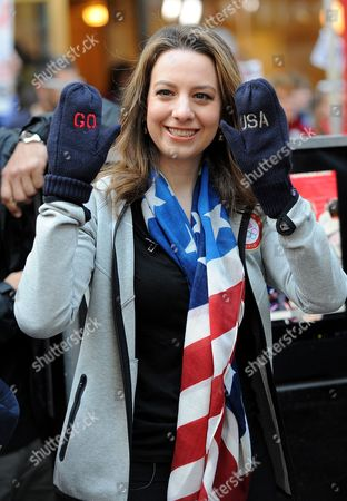 U.S. figure skater Sarah Hughes during a taping of NBC's Today Show Celebrates 100 Days To Sochi Olympics in New York. Sarah Hughes put her skating career on ice to pursue a law degree at the University of Pennsylvania