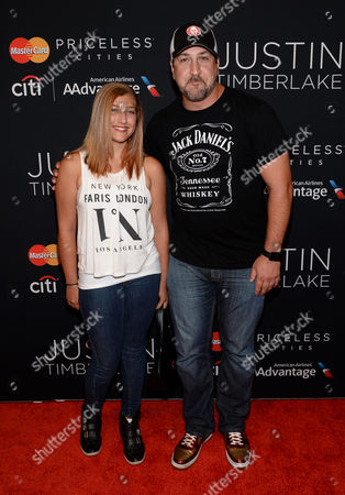 Joey Fatone and daughter Briahna Fatone attend a Justin Timberlake concert at the Hammerstein Ballroom on in New York