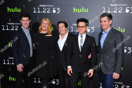 """From left: Hulu executive Craig Erwich, executive producer-writer Bridget Carpenter, Peter Guber, executive producer J.J. Abrams and Hulu CEO Mike Hopkins are seen at the premiere of the Hulu Original Series """"11.22.63"""" at The Bruin Theatre on in Los Angeles"""