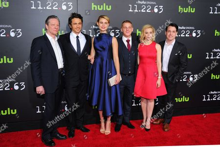 """Cast members from left: Chris Cooper, James Franco, Lucy Fry, Daniel Webber, Sarah Gadon and T.R. Knight are seen at the premiere of the Hulu Original Series """"11.22.63"""" at The Bruin Theatre on in Los Angeles"""