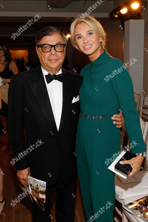 Bob Colacello and Corinna zu Sayn-Wittgenstein seen at MBFW Spring/Summer 2015 - Zac Posen fashion show at 3 East 54th Street, in New York