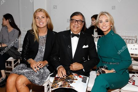 Anastasia Adkins, Bob Colacello and Corinna zu Sayn-Wittgenstein seen at MBFW Spring/Summer 2015 - Zac Posen fashion show at 3 East 54th Street, in New York