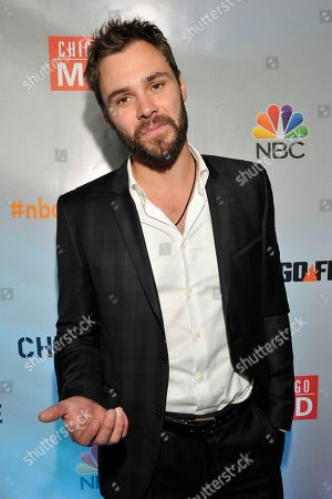 """Patrick John Flueger seen at Red Carpet Event for NBC's """"Chicago Fire,"""" """"Chicago P.D."""" and """"Chicago Med"""" at STK, in Chicago"""