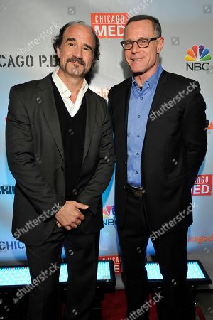 "Stock Picture of Elias Koteas and Jason Beghe seen at Red Carpet Event for NBC's ""Chicago Fire,"" ""Chicago P.D."" and ""Chicago Med"" at STK, in Chicago"
