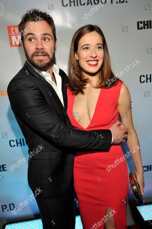 """Patrick John Flueger and Marina Squerciati seen at Red Carpet Event for NBC's """"Chicago Fire,"""" """"Chicago P.D."""" and """"Chicago Med"""" at STK, in Chicago"""