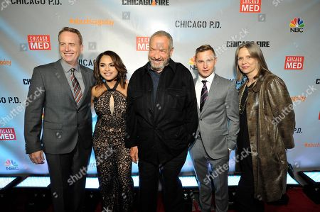 "Robert Greenblatt, Monica Raymund, Dick Wolf, Brian Geraghty, Amy Morton seen at Red Carpet Event for NBC's ""Chicago Fire,"" ""Chicago P.D."" and ""Chicago Med"" at STK, in Chicago"