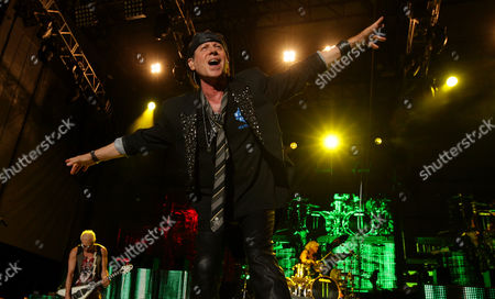 Rudolf Schenker Klaus Meine and James Kottak of the Scorpions perform on Friday at Charter One Pavilion at Northerly Island in Chicago