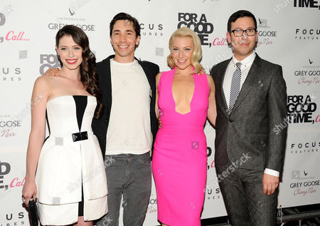 """Actress, writer and producer Lauren Anne Miller, left, actor Justin Long, actress Ari Graynor and director Jamie Travis attend a special screening of """"For A Good Time Call"""" at Regal Union Square Theaters on in New York"""