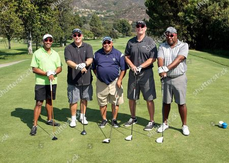 From left, Rocky Carroll, Andy Sale, Ed Wallace, Craig Logan, and Kelvin Keith participate in the Academy of Television Arts & Sciences 14th Primetime Emmy Celebrity Tee-Off, on Monday, September, 9, 2013 at Oakmont Country Club in Glendale, CA