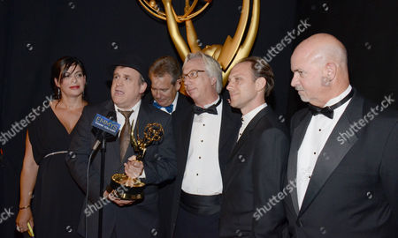 EXCLUSIVE -Lisa Varztakis, Tim Chilton,Christopher Harvengt, Richard Steele, Jason Tregoe, Bill Bell, at the Television Academy's Creative Arts Emmy Awards at the Nokia Theater L.A. LIVE, in Los Angeles