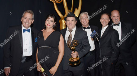 Stock Picture of EXCLUSIVE -From Left, Lisa Varztakis, Tim Chilton,Christopher Harvengt, Richard Steele, Jason Tregoe, and Bill Bell at the Television Academy's Creative Arts Emmy Awards at the Nokia Theater L.A. LIVE, in Los Angeles
