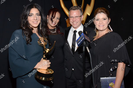 From left, Michelle Ceglia, Yolanda Mercadel, Monte C Haught, and Daina Daigle at the Television Academy's Creative Arts Emmy Awards at the Nokia Theater L.A. LIVE, in Los Angeles