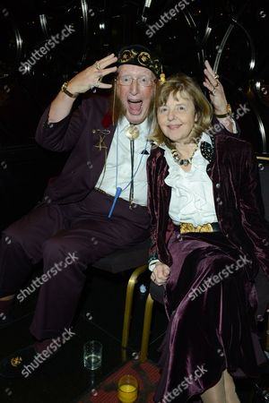 John McCririck, left, and Jenny McCririck seen at the after party for The Card Shark Show at the Mayfair Hotel, in London