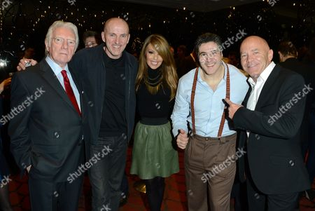 From left, Alan Ford, Lee Hurst, Katie Piper, Steve Truglia, Dominic Littlewood are seen at the after party for The Card Shark Show at the Mayfair Hotel, in London