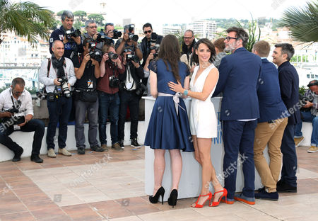 From left, actors Zukhra Duishvili, Berenice Bejo, Abdul-Khalim Mamatsuiev, director Michel Hazanavicius, actor Maxim Emelianov and producer Thomas Langmann during a photo call for The Search at the 67th international film festival, Cannes, southern France