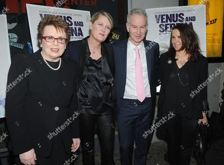 Former Tennis Player Billie Jean King, director Maiken Baird, director Michelle Major, former tennis player John McEnroe and actress Kristen Ruhli attends the Venus and Serena Special Screening at the IFC Center on in New York