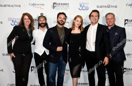 """Caroline Beteta, far left, president and CEO of Visit California, poses with, left to right, choreographer Ryan Heffington, director Brantley Gutierrez, actress Emma Stone, musician Will Butler and Subtractive CEO Kyle Schember at The GRAMMY Museum, in Los Angeles. Beteta led a panel discussion after Visit California premiered their latest California Dreamers video """"Dream of Dance,"""" which explores Heffington's creative world and Golden State inspiration"""