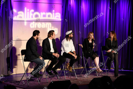 """Caroline Beteta, far right, president and CEO of Visit California, talks onstage with, left to right, director Brantley Gutierrez, musician Will Butler, choreographer Ryan Heffington and actress Emma Stone at The GRAMMY Museum, in Los Angeles. Beteta led a panel discussion after Visit California premiered their latest California Dreamers video """"Dream of Dance,"""" which explores Heffington's creative world and Golden State inspiration"""