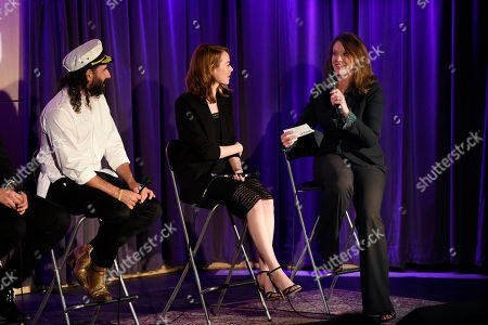 """Stock Photo of Caroline Beteta, right, president and CEO of Visit California, talks with choreographer Ryan Heffington, left, and actress Emma Stone at The GRAMMY Museum, in Los Angeles. Beteta led a panel discussion after Visit California premiered their latest California Dreamers video """"Dream of Dance,"""" which explores Heffington's creative world and Golden State inspiration"""