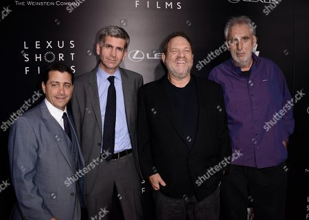 "From left to right, The Weinstein Company COO David Glasser, Lexus International GM of Global Branding John Thomson, The Weinstein Company Co-Chairman Harvey Weinstein, and director Phillip Noyce attend the world premiere of ""Lexus Short Films"" presented by Lexus and The Weinstein Company at Regal LA LIVE on in Los Angeles"