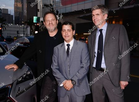 "From left to right, The Weinstein Company Co-Chairman Harvey Weinstein, The Weinstein Company COO David Glasser, and Lexus International GM of Global Branding John Thomson attend the world premiere of ""Lexus Short Films"" presented by Lexus and The Weinstein Company at Regal LA LIVE on in Los Angeles"