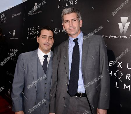 """The Weinstein Company COO David Glasser, left, and Lexus International GM of Global Branding John Thomson attend the world premiere of """"Lexus Short Films"""" presented by Lexus and The Weinstein Company at Regal LA LIVE on in Los Angeles"""