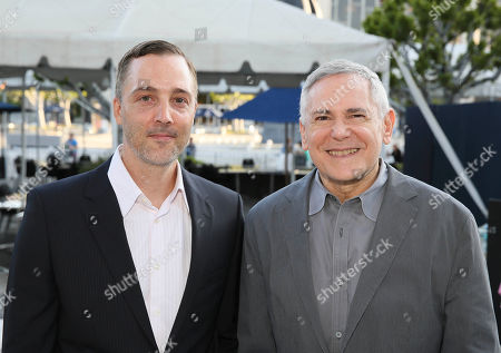 """From left, Mark Nicholson and Theatre and Film Producer Craig Zadan arrive for the opening night performance of """"Buyer & Cellar"""" at the Center Theatre Group/Mark Taper Forum, in Los Angeles, Calif"""