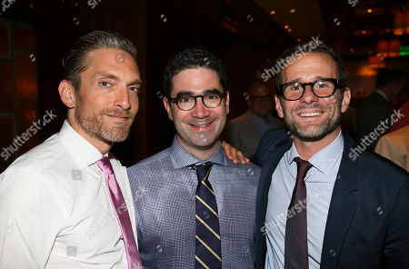"""From left, Erik Hyman, Playwright Jonathan Tolins and TV Writer/Producer Max Mutchnick pose during the party for the opening night performance of """"Buyer & Cellar"""" at the Center Theatre Group/Mark Taper Forum, in Los Angeles, Calif"""