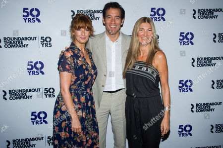 "Kelly Reilly, left, Clive Owen and Eve Best attend the ""Old Times"" Broadway cast media event at the American Airlines Theater, in New York"