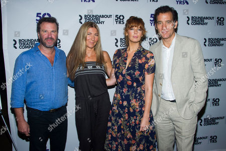 "Director Douglas Hodge, from left, with actors Eve Best, Kelly Reilly and Clive Owen attend the ""Old Times"" Broadway cast media event at the American Airlines Theater, in New York"