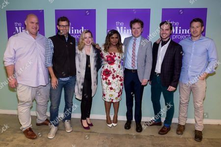 """Guy Branum, from left, Charlie Grandy, Lang Fisher, Mindy Kaling, Matt Warburton, Christopher Schleicher, and David Stassen arrive at the """"The Mindy Project"""" FYC event at the UCB Sunset Theatre, in Los Angeles"""