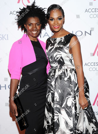 Marylou Luther Journalism Award winner Constance White, left, poses with actress Tika Sumpter attend the 16th annual ACE awards hosted by the Accessories Council at Cipriani 42nd Street on in New York