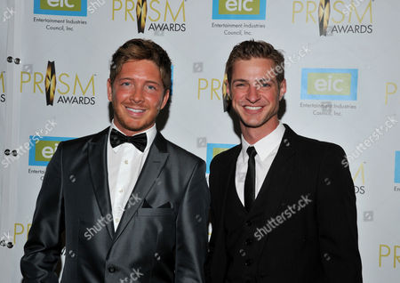Actors Jacob Diamond, left, and Blake Graves arrive at the 17th Annual Prism Awards Ceremony at The Beverly Hills Hotel, in Beverly Hills, Calif