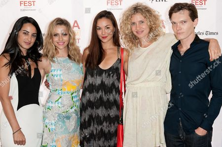 """Stock Image of From left, Brooke Stone, Teresa Palmer, Gemma Pranita, Amber L'estrange, and Luke Baines arrive at the 2014 Los Angeles Film Festival - """"The Ever After"""" Premiere on in Los Angeles"""