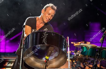 Stephen Perkins performs with Janes Addiction at the Voodoo Music Experience, in New Orleans