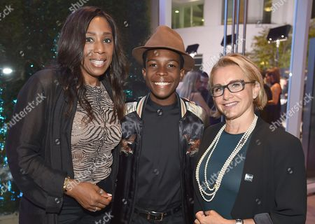 Dawnn Lewis, from left, Dante Brown and SAG-AFTRA President Gabrielle Carteris attend the Dynamic & Diverse Nominee Reception presented by the Television Academy and SAG-AFTRA at the Academy's Saban Media Center, in the NoHo Arts District in Los Angeles