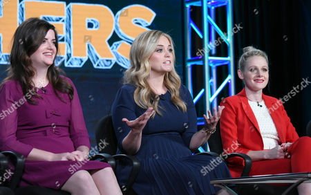 """Cate Freedman, from left, Kate Lambert and Katie O'Brien speak during the """"Teachers"""" panel at the TV Land 2016 Winter TCA, in Pasadena, Calif"""