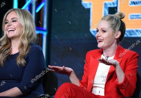 "Kate Lambert, left, and Katie O'Brien speak during the ""Teachers"" panel at the TV Land 2016 Winter TCA, in Pasadena, Calif"