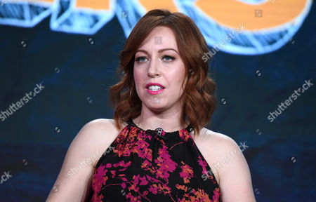 """Executive Producer Kathryn Renee Thomas speaks during the """"Teachers"""" panel at the TV Land 2016 Winter TCA, in Pasadena, Calif"""