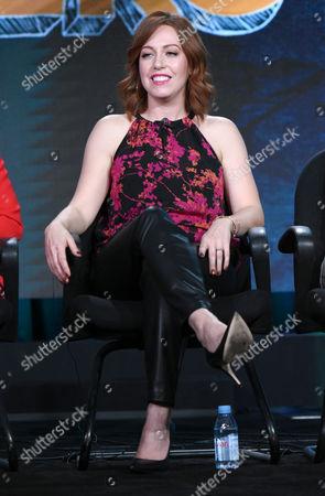 "Kathryn Renee Thomas speaks during the ""Teachers"" panel at the TV Land 2016 Winter TCA, in Pasadena, Calif"